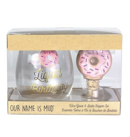 OUR NAME IS MUD WINE GLASS/STOPPER DONUT