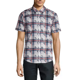 POINT ZERO BUTTON UP PLAID PALM SHIRT