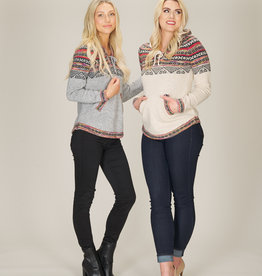 PAPILLON FAIRISLE PRINT SWEATER w/HOOD