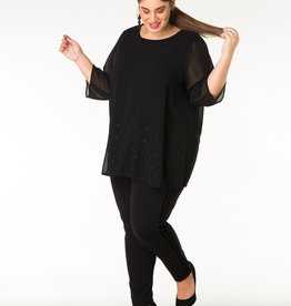 BLACK 3/4 SLV BLOUSE w/STUD DETAIL