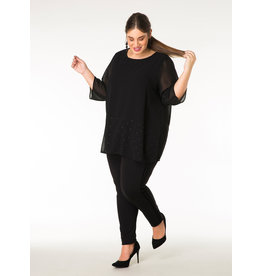 YESTA BLACK 3/4 SLV BLOUSE w/STUD DETAIL