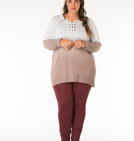 TUNIC SWEATER w/LACE UP NECK