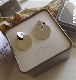 PIKA & BEAR TALOKE STERLING HEXAGON EARRINGS