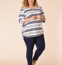 STRIPED TUNIC TOP w/SIDE TIES