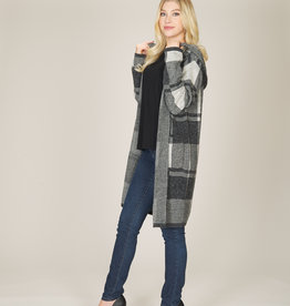 PAPILLON CHECK HOODED CARDIGAN