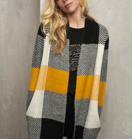 ESQUALO YELLOW PLAID CARDIGAN