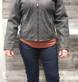 MONTANA CHARCOAL FAUX LEATHER COLLARED JACKET