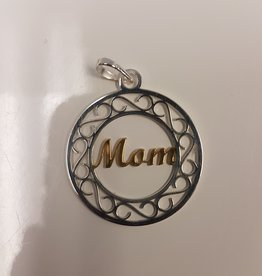 MOM LARGE CIRCLE STERLING SILVER PENDANT