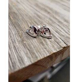 STERLING SILVER CZ HEART EARRINGS