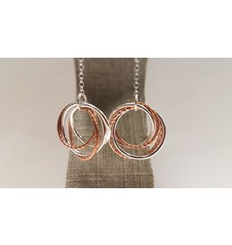 STERLING SILVER 2 TONE DROP EARRINGS