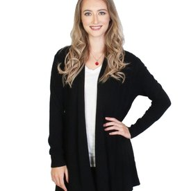 PLEATED L/S BLACK CARDIGAN