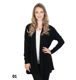 GRAND INT'L PLEATED L/S BLACK CARDIGAN