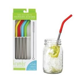 4 PK STAINLESS STRAWS w/RUBBER END