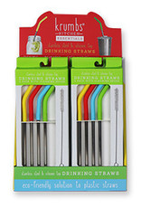 CGC 4 PK STAINLESS STRAWS w/RUBBER END