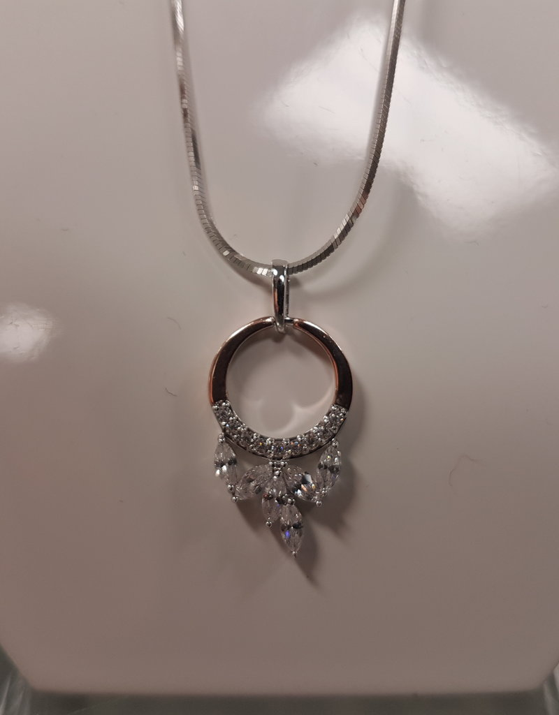 STERLING SILVER ROSE GOLD CZ NECKLACE