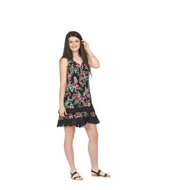 PAPILLON TROPICAL PRINT RUFFLE TRIM DRESS