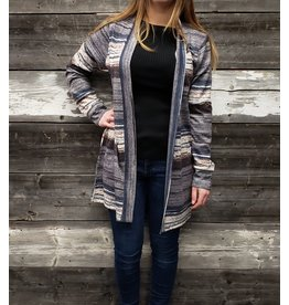 POINT ZERO STRIPE PRINT DUSTER CARDIGAN