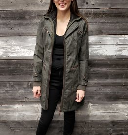 MONTANA LONG OLIVE FAUX LEATHER JACKET