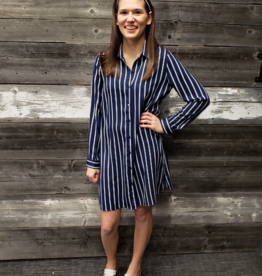 ESQUALO LONG STRIPED BLOUSE w/TIE