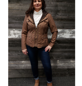 MONTANA BROWN HOODED FAUX LEATHER  JACKET