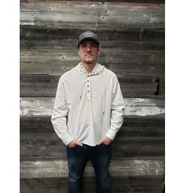 POINT ZERO LINEN COTTON HOODED L/S SHIRT