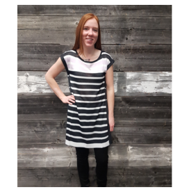 STRIPED BUTTON SIDE TUNIC