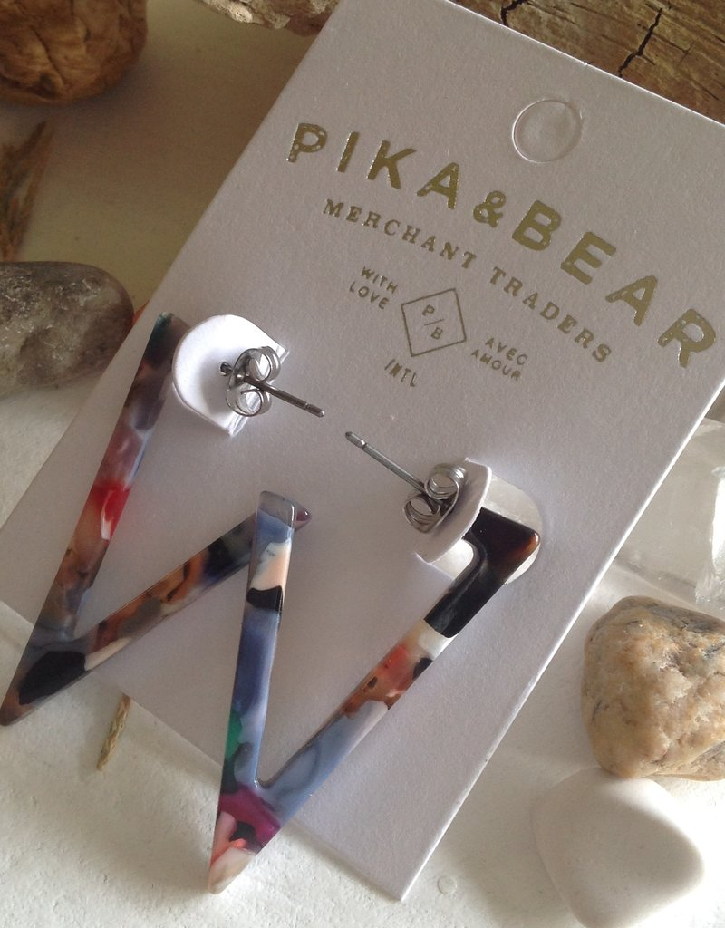 PIKA & BEAR FLYING V ACETATE EARRINGS