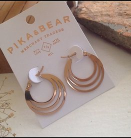 PIKA & BEAR ZAHA TRIPLE LOOP EARRING ROSE GOLD
