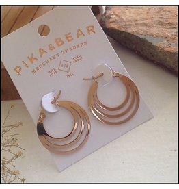 PIKA & BEAR ZAHA TRIPLE LOOP EARRING ROSE GOLD