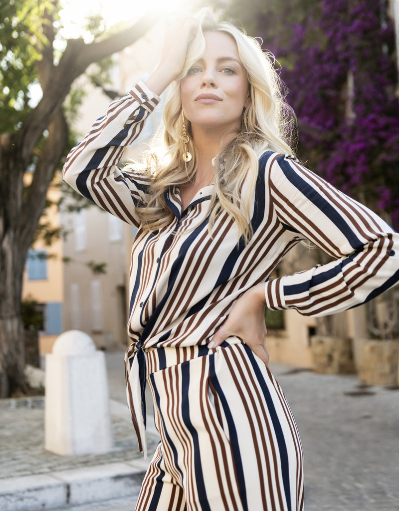 ESQUALO BROWN STRIPED FRONT KNOT BLOUSE
