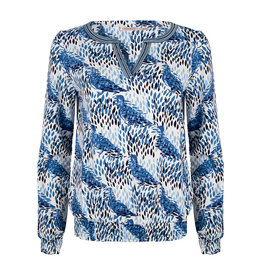 ESQUALO V-NECK DOVE PRINT L/S TOP