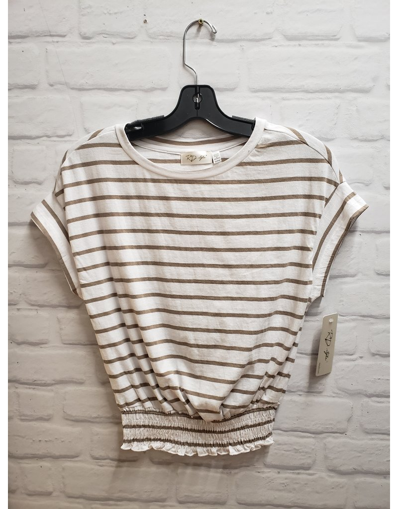 RD STYLE ELASTIC WAIST STRIPED TOP