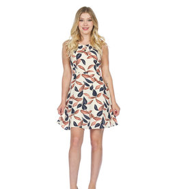PAPILLON LEAF PRINT  FIT AND FLARE DRESS