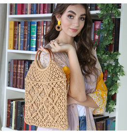 SIMI CROCHET HANDBAG w/WOODEN HANDLE