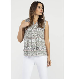 TRIBAL SLVLESS ROUND NECK TOP w/PLEATS