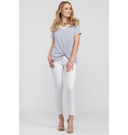 TRIBAL STRIPED DUSTY BLUE KNOT FRONT TEE