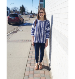 TRIBAL STRIPED BLUE SWEATER