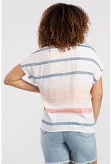 TRIBAL STRIPED TOP w/CORDED V-NECK