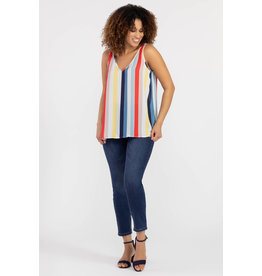 TRIBAL BOLD STRIPE SLVLESS V-NECK TANK
