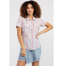 TRIBAL STRIPED S/SLV BUTTON FRONT CAMPSHIRT