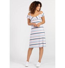 TRIBAL RUFFLE NECKLINE DRESS