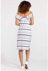 TRIBAL RUFFLE NECKLINE DRESS