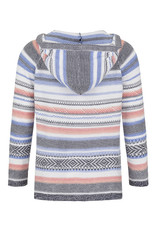 TRIBAL STRIPED COMBED COTTON HOODIE