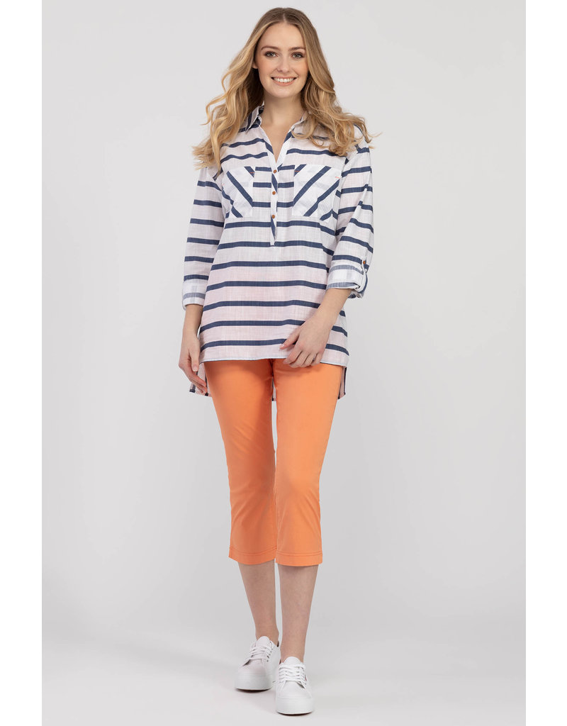 TRIBAL STRIPED ROLL UP SLV TOP w/BUTTONS
