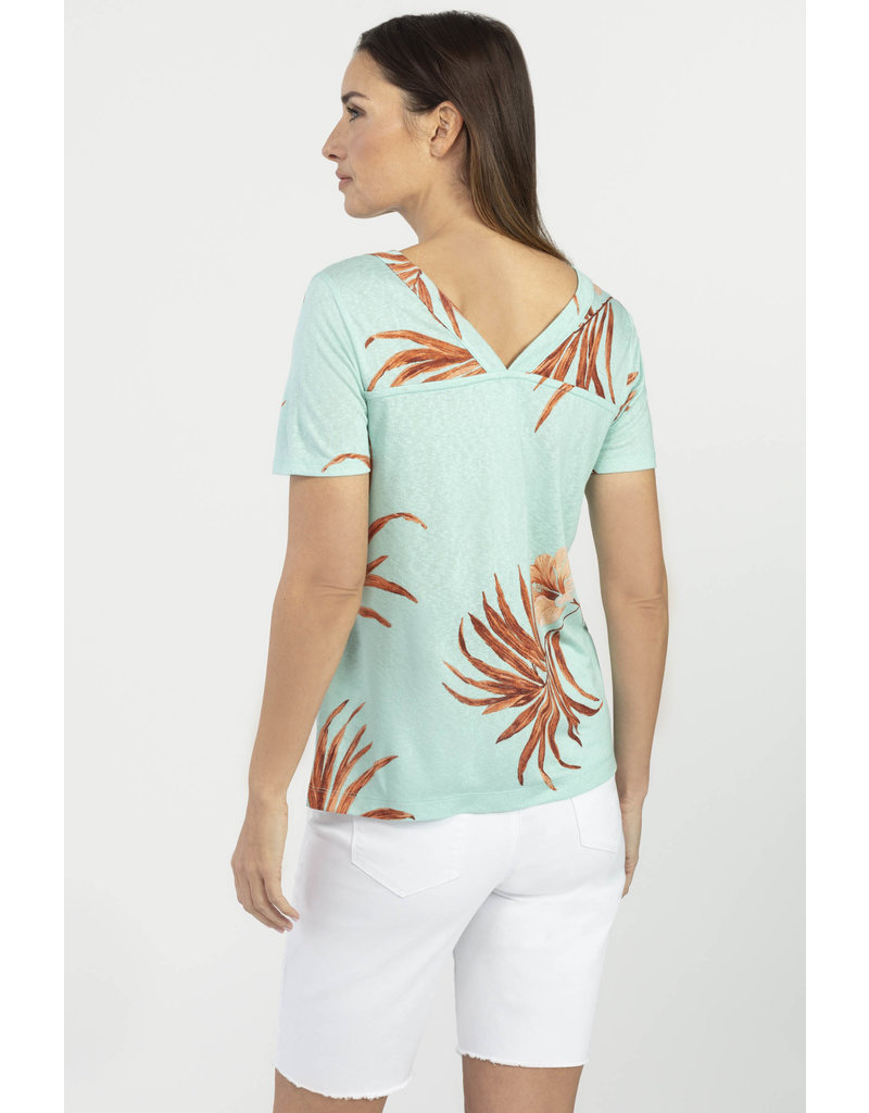 TRIBAL DOUBLE V-NECK TOP w/TIE