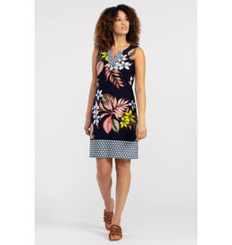TRIBAL SLVLESS TROPICAL PRINT DRESS