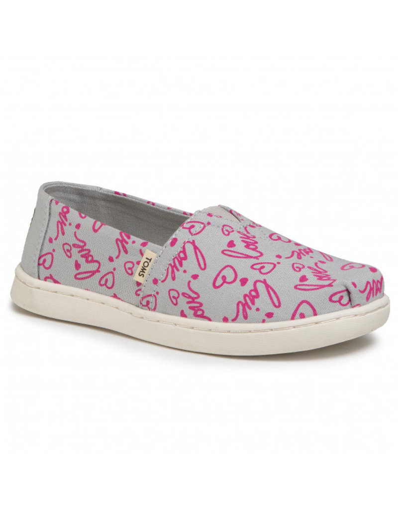 TOMS YOUTH CLASSIC CANVAS LOVE PRINT SHOE