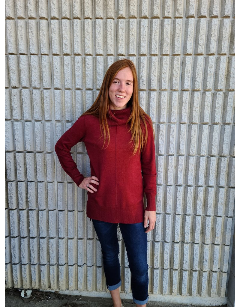 TRIBAL COWL NECK SOFT SWEATER- SANGRIA
