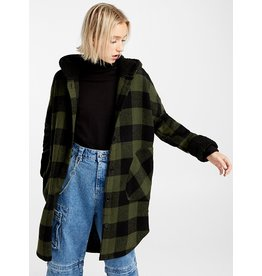 RD STYLE PLAID HOODED BLACK SHERPA LINED JACKET