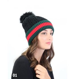 GRAND INT'L RED STRIPE CABLE KNIT TOQUE